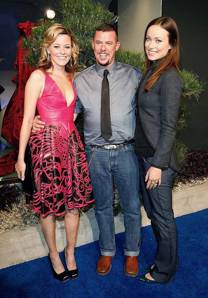 "Man of the evening Alexander McQueen poses with two of his celebrity clients: Elizabeth Banks and Olivia Wilde. Donato Sardella/<a href=""http://www.wireimage.com"" target=""new"">WireImage.com</a> - May 13, 2008"