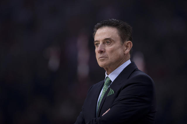 in this Friday, Jan. 4, 2019, file photo Former Panathinaikos coach Rick Pitino looks on during a Euroleague basketball match, between Panathinaikos and Olympiakos in Piraeus near Athens. Greece's Basketball Federation says U.S. coaching great Rick Pitino has agreed to coach the national team and lead its effort to qualify for the 2020 Olympics in Tokyo. Pitino would be officially presented Monday, when details of his agreement would be announced. (AP Photo/Petros Giannakouris, file)