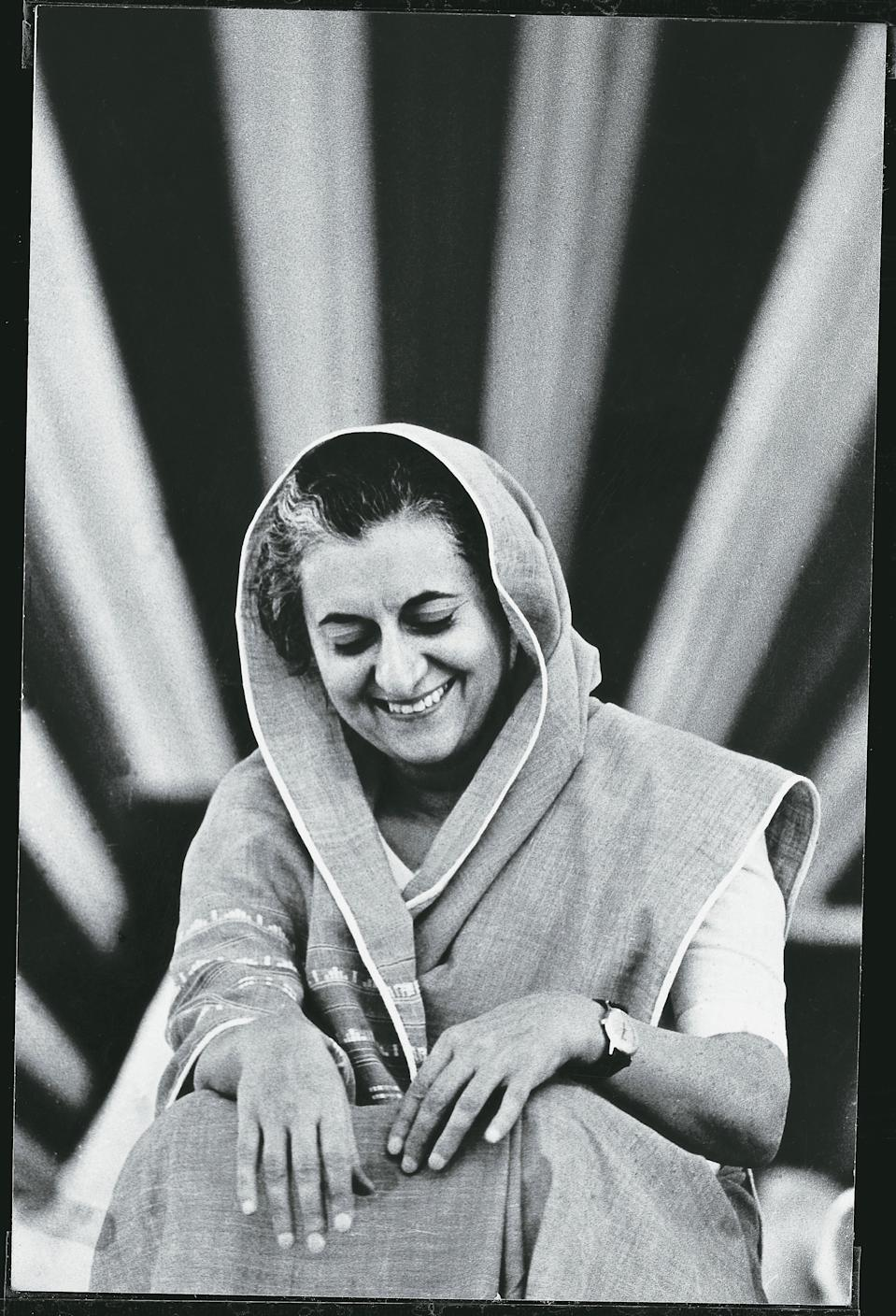 INDIA - CIRCA 1970's:  Indira Gandhi laughs in India circa 1970's. (Photo by The The India Today Group via Getty Images)