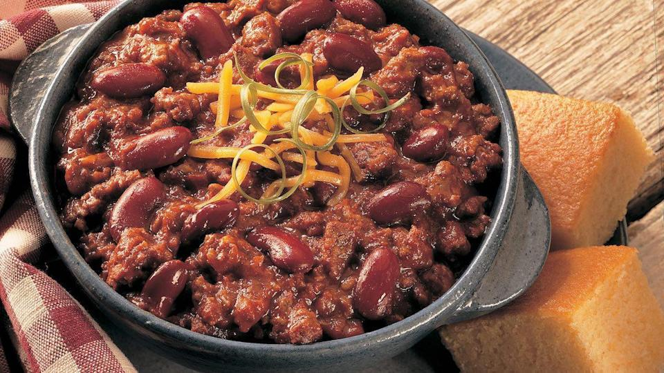 """<p>Nothing special about this dish — it's just a <a href=""""https://www.thedailymeal.com/classic-american-recipes-over-decades?referrer=yahoo&category=beauty_food&include_utm=1&utm_medium=referral&utm_source=yahoo&utm_campaign=feed"""" rel=""""nofollow noopener"""" target=""""_blank"""" data-ylk=""""slk:classic American recipe"""" class=""""link rapid-noclick-resp"""">classic American recipe</a> your family will love. </p> <p><a href=""""https://www.thedailymeal.com/recipes/all-american-chili?referrer=yahoo&category=beauty_food&include_utm=1&utm_medium=referral&utm_source=yahoo&utm_campaign=feed"""" rel=""""nofollow noopener"""" target=""""_blank"""" data-ylk=""""slk:For the All American Chili recipe, click here"""" class=""""link rapid-noclick-resp"""">For the All American Chili recipe, click here</a>.</p>"""