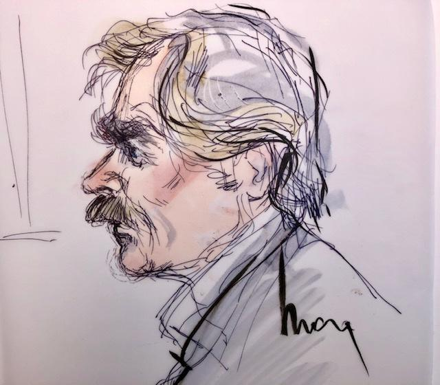 The subject in this drawing, William H. Macy, is closer than he appears. Edwards sketched this in court on Tuesday as he sat next to her with only 3 inches between them. (Image: Mona Shafer Edwards/Reuters)