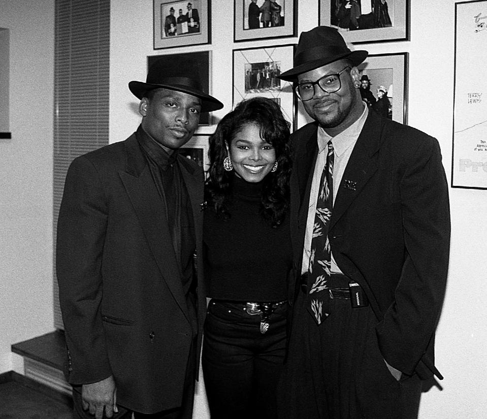 Janet Jackson withTerry Lewis and Jimmy Jam at the opening of Jam & Lewis's Flyte Tyme Studios in Minnesota in 1989. (Photo: Raymond Boyd/Getty Images)