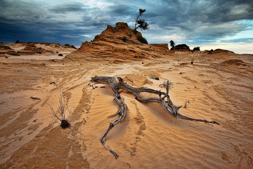Eroded dunes or lunette formations in Mungo national park, western NSW, Australia.