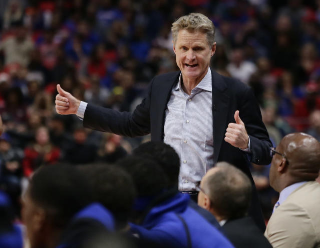 Warriors coach Steve Kerr is fortunate he only had to deal with a debilitating back injury instead of Lavar Ball. (AP)