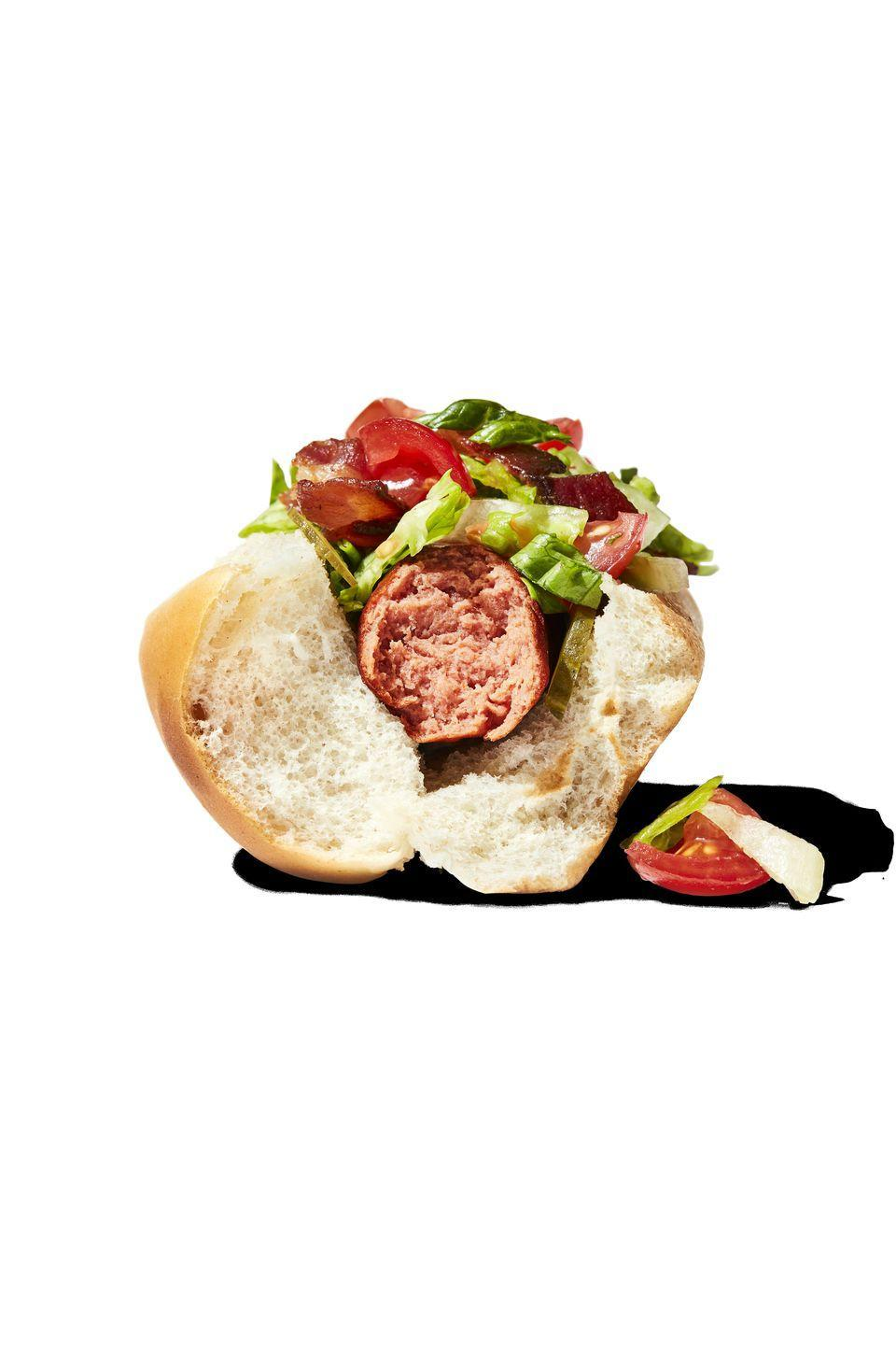 <p>2 chopped cooked bacon strips + ⅓ cup chopped tomato + 1/2 cup + shredded lettuce + 1/4 cup sliced dill pickle</p>