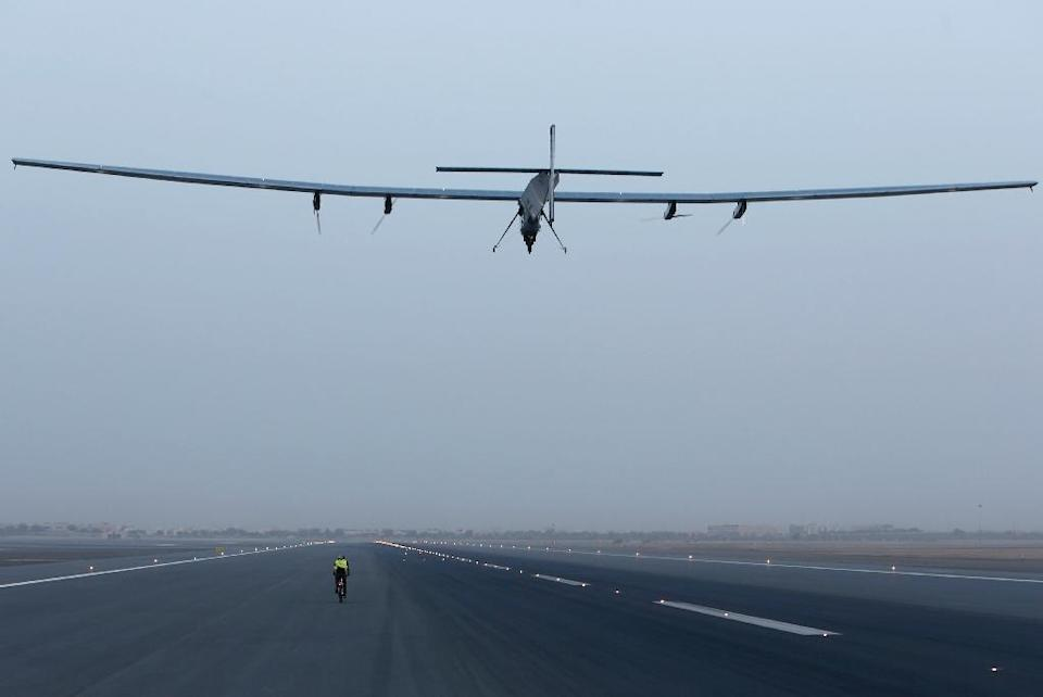 Solar Impulse 2 had been due to leave Ahmedabad city in the western state of Gujarat on Sunday and travel on to Myanmar after a short stopover in the holy city of Varanasi in northern India (AFP Photo/Mohammed Mahjoub)