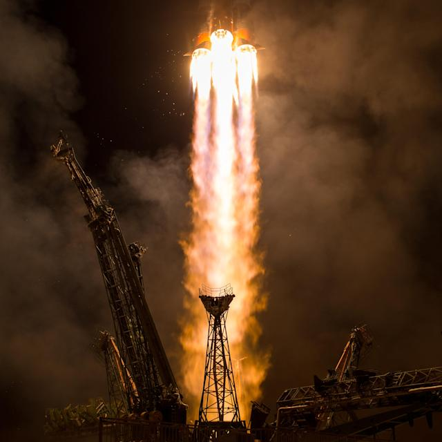 <p>The Soyuz MS-06 spacecraft launches from the Baikonur Cosmodrome with Expedition 53 crewmembers Joe Acaba of NASA, Alexander Misurkin of Roscosmos, and Mark Vande Hei of NASA from the Baikonur Cosmodrome in Kazakhstan, Wednesday, Sept. 13, 2017, Kazakh time. Acaba, Misurkin, and Vande Hei will spend approximately five and half months on the International Space Station. (Photo: NASA/Bill Ingalls) </p>