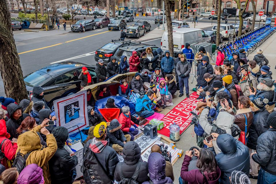 DEPARTMENT OF HOUSING PRESERVATION AND DEVELOPMENT, NEW YORK, UNITED STATES - 2018/02/12: Members of the 83-85 Bowery Tenants Association have been on hunger strike for five days outside the Department of Housing Preservation and Development. The City's promised deadline to get the Bowery tenants home has passed and the tenants are still displaced. Last month, landlord Joseph Betesh colluded with the City to carry out a mass eviction of 85 Bowery's low-income tenants, many whom are elderly and children as young as newborn babies. (Photo by Erik McGregor/Pacific Press/LightRocket via Getty Images)