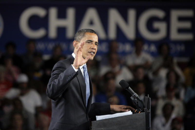 FILE - In this Oct. 13, 2008 file photo, then-Democratic presidential candidate, Sen. Barack Obama, D-Ill., campaigns at the Seagate Convention Centre in Toledo, Ohio. All that campaign money this election and last. Well, it was just prologue. The next election will be an explosion of political cash that political strategists and campaign experts say will eclipse the $5.3 billion spent in the 2008 and the $4 billion anticipated tab this year, further eroding attempts to control money in politics.  (AP Photo/Jae C. Hong, File)