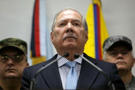 Colombian Defense Minister Guillermo Botero attends a news conference, in Bogota, Colombia May 20, 2019. REUTERS/Luisa Gonzalez