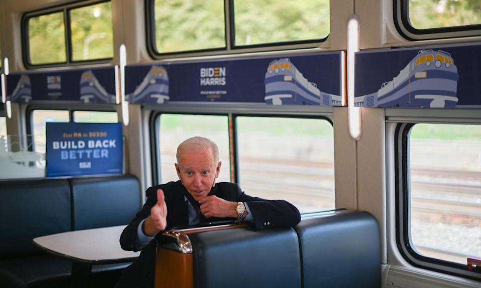 Biden rides the train on a campaign tour in Pennsylvania in September.