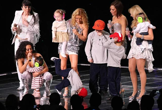 "The Spice Kids make an appearance alongside their moms. Three-year-old Cruz Beckham plays up to the crowd by showing off his breakdancing moves. <a href=""https://ec.yimg.com/ec?url=http%3a%2f%2fwww.splashnewsonline.com%26quot%3b&t=1524285102&sig=sv3uvixW_LKUq.EF1qeTkA--~D rel=""nofollow noopener"" target=""_blank"" data-ylk=""slk:Splash News"" class=""link rapid-noclick-resp"">Splash News</a> - February 18, 2008"