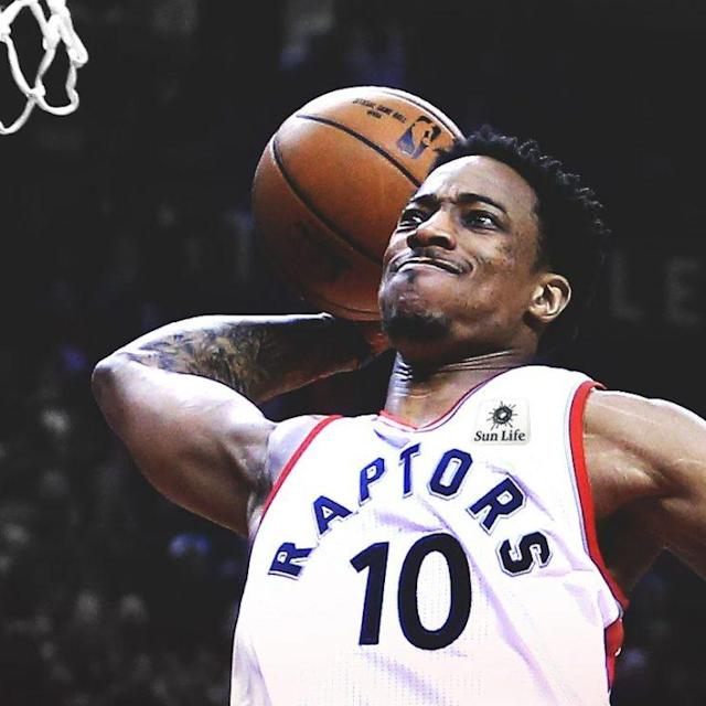 This DeMar DeRozan dunk is brought to you by Sun Life Financial. (Image via @Raptors)