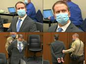 This combination of pictures shows Derek Chauvin listening to the verdict and being taken away after being found guilty of the murder of George Floyd