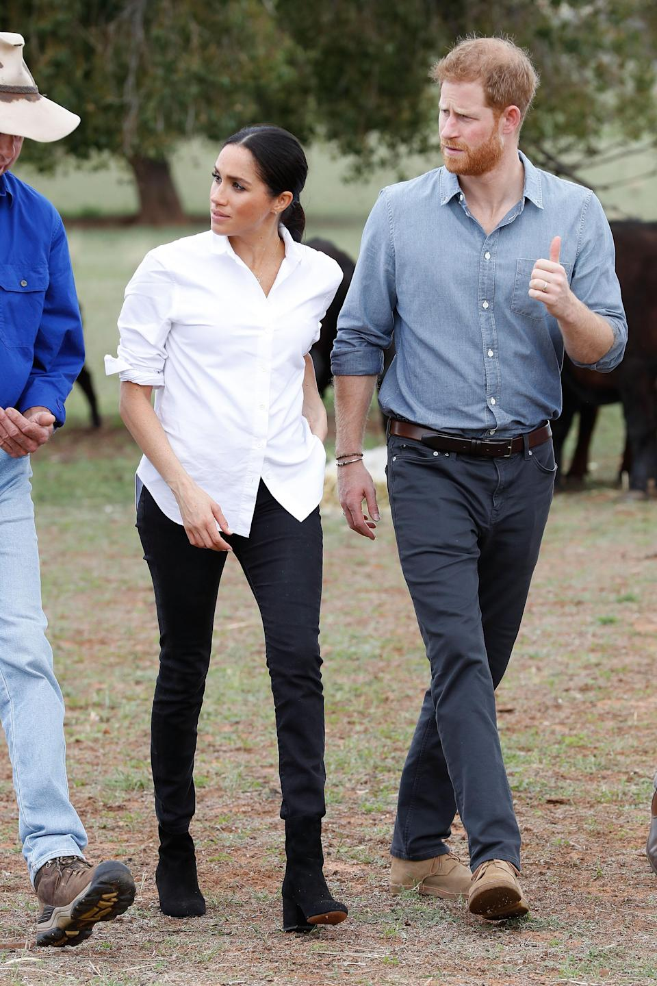 Prince Harry and Meghan Markle spent time with Dubbo farmers to learn about the hardships of the recent drought. Source: Getty