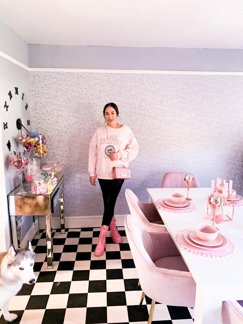 The pink-obsessed woman began her colour coordinated journey when her Stepdad, Michael Heslop, 64, gifted her a pink kettle and toaster at her engagement party in May 2019.