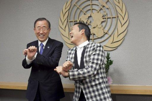 UN leader Ban Ki-moon met fellow South Korean Psy in New York. Ban said he felt overshadowed by his countryman, who showed off some of the wacky dance moves that have been viewed more than 530 million times on YouTube