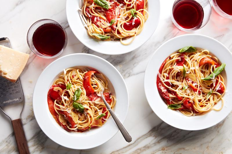 Red pepper pasta with lots of garlic is a definite crowd-pleaser.