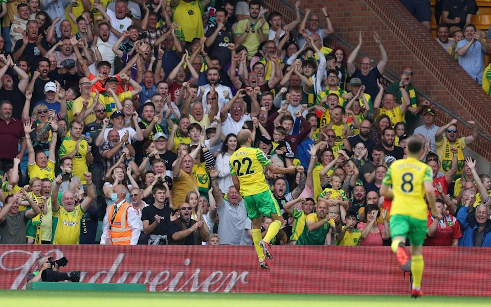 Teemu Pukki of Norwich City celebrates after scoring their team's first goal - Getty Images