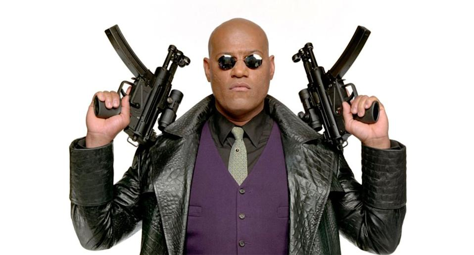 Laurence Fishburne as Morpheus in a Matrix Revolutions promo shot (Warrner Bros.)