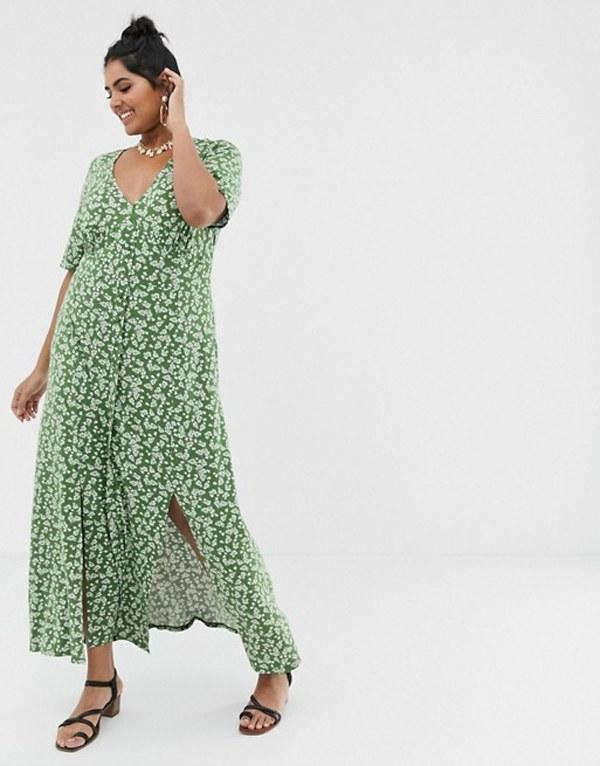 """First off, by 16, you have to have <em>a</em> dress. Not any dress though. Preferably a printed dress that will look great whether you style it with your everyday sneakers or a pair of kitten heels; a dress that will look great if you accessorize it with dainty jewelry or simply wear your oversized hoodie over it. Basically, a multifunctional dress that's worth the cost per wear. $56, ASOS. <a href=""""https://www.asos.com/us/asos-curve/asos-design-curve-button-through-maxi-tea-dress-with-splits-in-ditsy-print/prd/12605776?clr=green-ditsy&colourWayId=16438066&SearchQuery=&cid=8799"""">Get it now!</a>"""