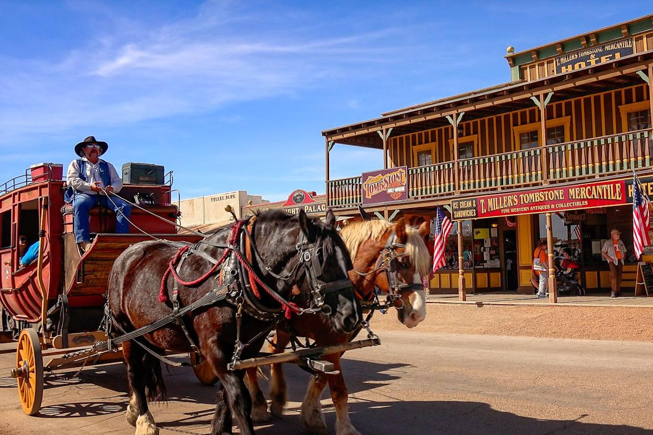 """<p>Home to the wild, wild west, <a rel=""""nofollow"""" href=""""https://www.tripadvisor.com/Tourism-g31381-Tombstone_Arizona-Vacations.html"""">Tombstone, Arizona</a> is known for its old-school shoot-outs and saloons. The town is <a rel=""""nofollow"""" href=""""https://www.womansday.com/life/travel-tips/tips/a2474/10-best-childrens-museums-to-visit-this-summer-118249/"""">filled with museums</a>, reenactments, and restaurants that will make you feel like you're a cowboy back in the late 1870s.</p>"""