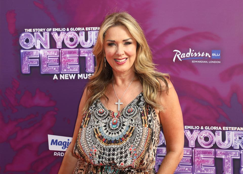 LONDON, UNITED KINGDOM - 2018/06/27: Claire Sweeney arrives on the red carpet during the On Your Feet - Musical Press Night  at the London Coliseum, St Martin's Lane. (Photo by Brett Cove/SOPA Images/LightRocket via Getty Images)
