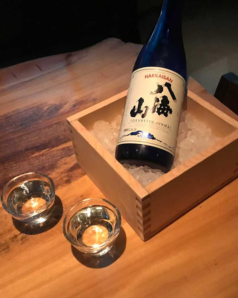 A bottle of Tokubetsu Junmai sits ready to drink. | Courtesy of Timothy Sullivan
