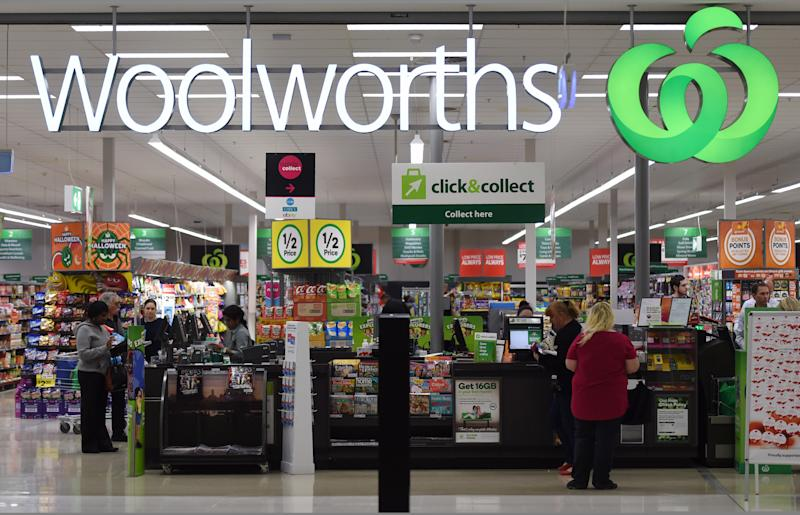 Pictured is a Woolworths store and front counter.