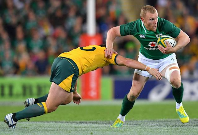 Rugby Union - June Internationals - Australia vs Ireland - Lang Park, Brisbane, Australia - June 9, 2018 - Keith Earls of Ireland is tackled by Bernard Foley of Australia. AAP/Darren England/via REUTERS ATTENTION EDITORS - THIS IMAGE WAS PROVIDED BY A THIRD PARTY. NO RESALES. NO ARCHIVE. AUSTRALIA OUT. NEW ZEALAND OUT.