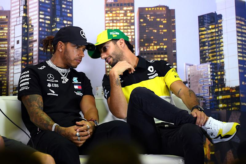 Daniel Ricciardo of Australia and Renault Sport F1 speaks with Lewis Hamilton of Great Britain and Mercedes GP during a press conference during previews ahead of the F1 Grand Prix of Australia at Melbourne Grand Prix Circuit on March 12, 2020 in Melbourne, Australia. (Photo: Clive Mason via Getty Images)