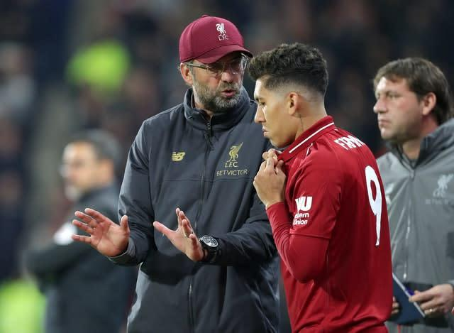 Liverpool manager Jurgen Klopp says Roberto Firmino offers far more than goals to his side (Richard Sellers/PA)