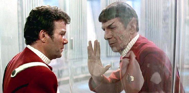 Kirk and Spock bid farewell in <em>Star Trek II: The Wrath of Khan.</em>