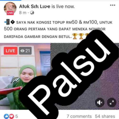 Siti shares the social media page that has been using her name and images illegally