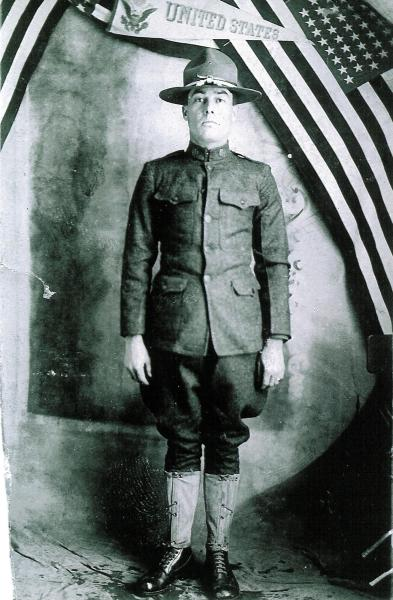 """CORRECTS THE SOURCE In this undated photo from the collection provided by Patrick Lernout, American World War One soldier Wesley Creech, stands in his uniform. As if by premonition, Private Wesley Creech no longer hid the darkness of his soul from his wife Carzetta and five-month-old daughter Marie during the decisive weeks of World War One.""""If I never see you and Marie any more, I hope to meet you in a Better Place,"""" he penned down in his best strokes on Aug. 24, 1918, when the American army was pushing the Germans back in Belgium. He signed off the letter with """"good By."""" One week later he was killed by an enemy bullet in the head. On Wednesday, March 26, 2014, President Barack Obama will honor those Americans who died in a struggle so all-encompassing, so horrific, it simply became known as the Great War. Obama thus pre-empts most of the continental centennial remembrances which are tarteged at the early August 1914 start of hostilities which pitted the German and Austro-Hungarian empires against France, Britain and Russia and others. (AP Photo)"""