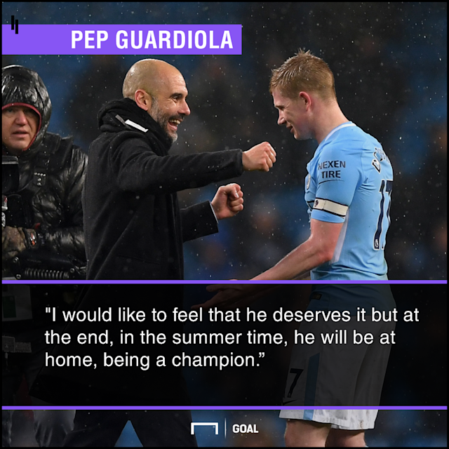"The Manchester City boss says the Belgian has been the best player this season, and that he is ""a champion"", but the Eygptian is equally deserving"