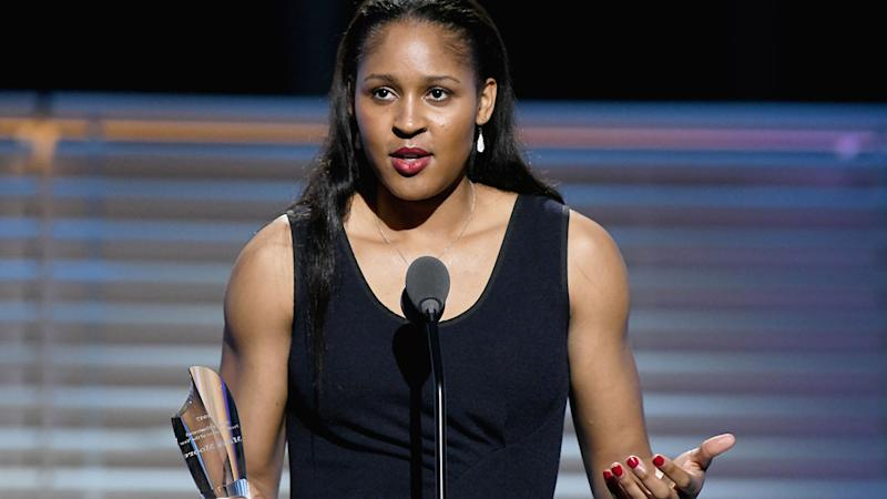 Maya Moore is seen here with her Sports Illustrated Performer of the Year Award from 2017.