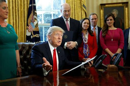 U.S. President Donald Trump speaks before signing an executive order rolling back regulations from the 2010 Dodd-Frank law on Wall Street reform at the White House in Washington February 3, 2017.  REUTERS/Kevin Lamarque