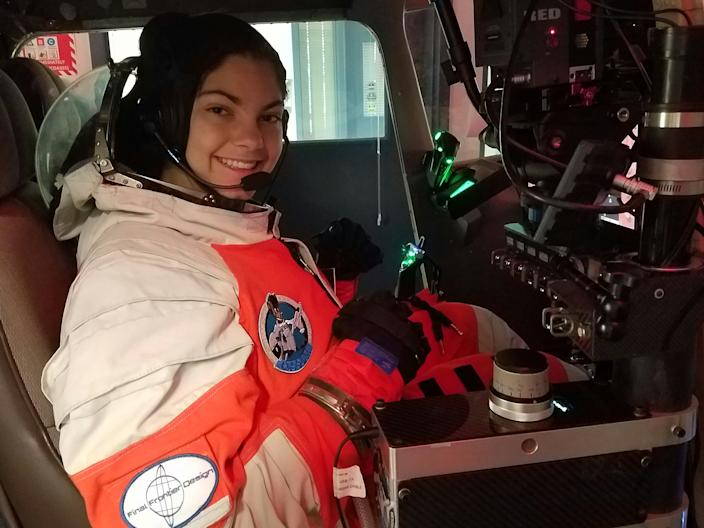 Alyssa Carson in a flight simulator at Advanced Space Academy.