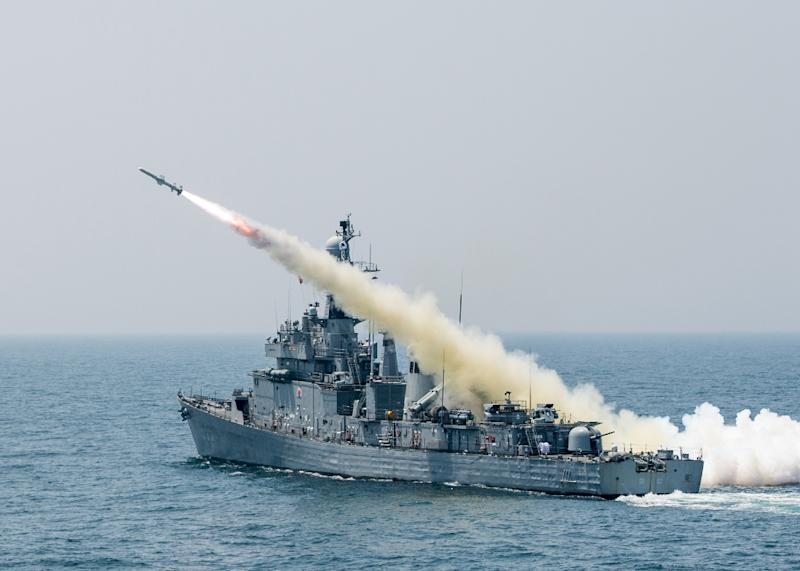 A South Korean warship fires a missile during a naval drill on May 19, 2015
