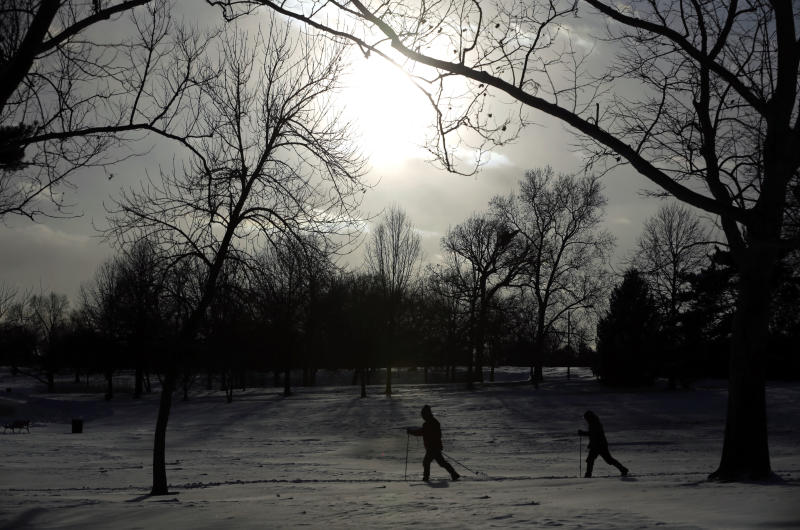 Cross country skiers enjoy the snow in Forest Park Monday, Jan. 6, 2014, in St. Louis. After the area was blanketed by snow on Sunday, dangerous cold settled across Missouri on Monday amid warnings that even a few minutes of exposure for people and pets could be deadly. (AP Photo/Jeff Roberson)