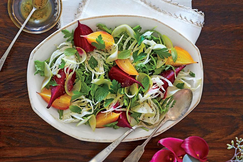 """<p><strong>Recipe: <a href=""""https://www.southernliving.com/recipes/beet-fennel-apple-salad-recipe"""" rel=""""nofollow noopener"""" target=""""_blank"""" data-ylk=""""slk:Beet, Fennel, and Apple Salad"""" class=""""link rapid-noclick-resp"""">Beet, Fennel, and Apple Salad</a></strong></p> <p>Earthy beets really shine in this fall salad, especially when you opt for the fun colors like the Chioggia beets or golden ones, which will pop on the plate. They'll taper the spiciness of the arugula, as will the Granny Smiths.</p>"""