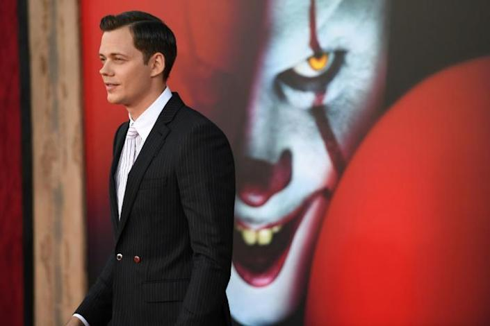 """In this file photo taken on August 26, 2019, actor Bill Skarsgard arrives for the premiere of """"IT Chapter Two"""" in Westwood, California; he plays Pennywise, the murderous clown (AFP Photo/Robyn Beck)"""