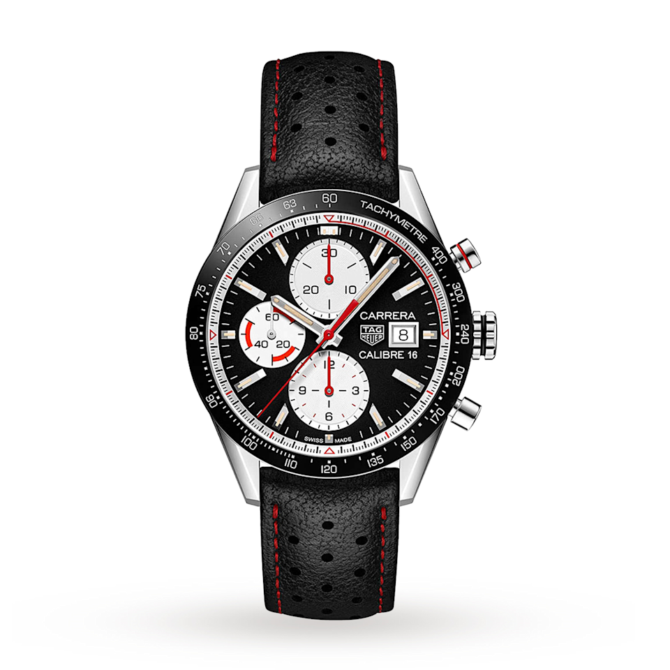 """<p>Chronograph 41mm </p><p><a class=""""link rapid-noclick-resp"""" href=""""https://go.redirectingat.com?id=127X1599956&url=https%3A%2F%2Fwww.mrporter.com%2Fen-gb%2Fmens%2Fproduct%2Ftag-heuer%2Fluxury-watches%2Fsports-watches%2Fcarrera-automatic-chronograph-41mm-steel-and-leather-watch-ref-no-cv201apfc6429%2F666467151986410%3FignoreRedirect%3Dtrue%26ppv%3D2%26cm_mmc%3DGoogle-ProductSearch-UK--c-_-MRP_EN_UK_PLA-_-MRP%2B-%2BUK%2B-%2BGS%2B-%2BLux%2BWatches%2B-%2BRetention--Lux%2BWatches_INTL%26gclid%3DCjwKCAjwmf_4BRABEiwAGhDfSUZKeIasvu6tzBURtRz9n03JPDOwePwiBQKyu7zO2Ht1w5Z3Q7_e6hoCTpAQAvD_BwE%26gclsrc%3Daw.ds&sref=https%3A%2F%2Fwww.menshealth.com%2Fuk%2Fstyle%2Fwatches%2Fg34617551%2Ftag-heuer-watches-men%2F"""" rel=""""nofollow noopener"""" target=""""_blank"""" data-ylk=""""slk:SHOP"""">SHOP</a></p><p>The first chronograph designed specifically for measuring car races, the Carrera was introduced in 1964 in commemoration of the Carrera Panamericana, the notoriously hair-raising Mexican road race whose high number of fatalities eventually saw it shut down. Widely regarded as a landmark in watch design, in 2020 various iterations were launched to<a href=""""https://www.esquire.com/uk/style/watches/a32067454/tag-heuer-carrera-watch-160-year-anniversary/"""" rel=""""nofollow noopener"""" target=""""_blank"""" data-ylk=""""slk:mark the 160th anniversary of Tag Heuer"""" class=""""link rapid-noclick-resp""""> <u>mark the 160th anniversary of Tag Heuer</u></a>.</p><p>£3,500; <a href=""""https://www.mrporter.com/en-gb/mens/product/tag-heuer/luxury-watches/sports-watches/carrera-automatic-chronograph-41mm-steel-and-leather-watch-ref-no-cv201apfc6429/666467151986410?&ignoreRedirect=true&ppv=2&cm_mmc=Google-ProductSearch-UK--c-_-MRP_EN_UK_PLA-_-MRP+-+UK+-+GS+-+Lux+Watches+-+Retention--Lux+Watches_INTL&gclid=CjwKCAjwmf_4BRABEiwAGhDfSUZKeIasvu6tzBURtRz9n03JPDOwePwiBQKyu7zO2Ht1w5Z3Q7_e6hoCTpAQAvD_BwE&gclsrc=aw.ds"""" rel=""""nofollow noopener"""" target=""""_blank"""" data-ylk=""""slk:mrporter.com"""" class=""""link rapid-noclick-resp"""">mrporter.com</a></p>"""