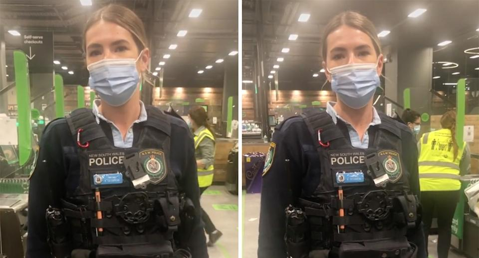 Screenshots taken from the TikTok video showing the female police officer in the Woolworths supermarket talking to the man.