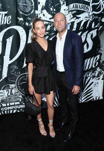 "<p>Although he had been linked romantically to a few famous women, including Mariah Carey, he began dating model Hannah Davis but were notoriously quiet about their relationship. They were married in 2016 <a href=""https://www.harpersbazaar.com/wedding/photos/a16592/hannah-davis-derek-jeter-wedding/"" rel=""nofollow noopener"" target=""_blank"" data-ylk=""slk:in a small private ceremony"" class=""link rapid-noclick-resp"">in a small private ceremony</a> in the Napa Valley.</p>"