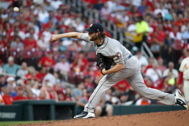 Houston Astros starting pitcher Gerrit Cole throws during the fourth inning of a baseball game against the St. Louis Cardinals, Saturday, July 27, 2019, in St. Louis. (AP Photo/Jeff Roberson)