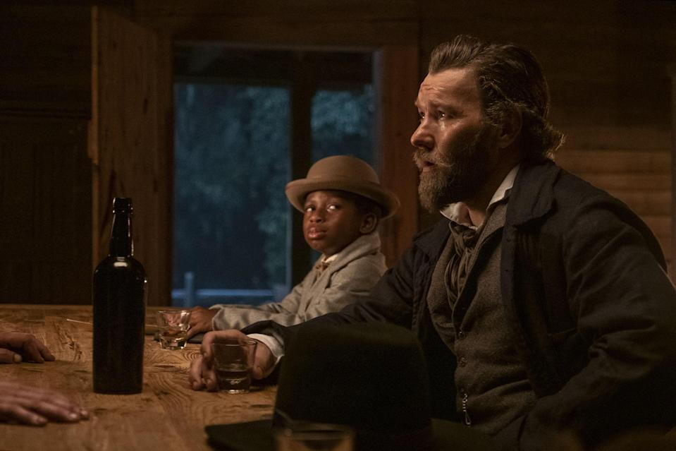 Chase W Dillon (as Homer) and Joel Edgerton (as Ridgeway) in <i>The Underground Railroad.</i>
