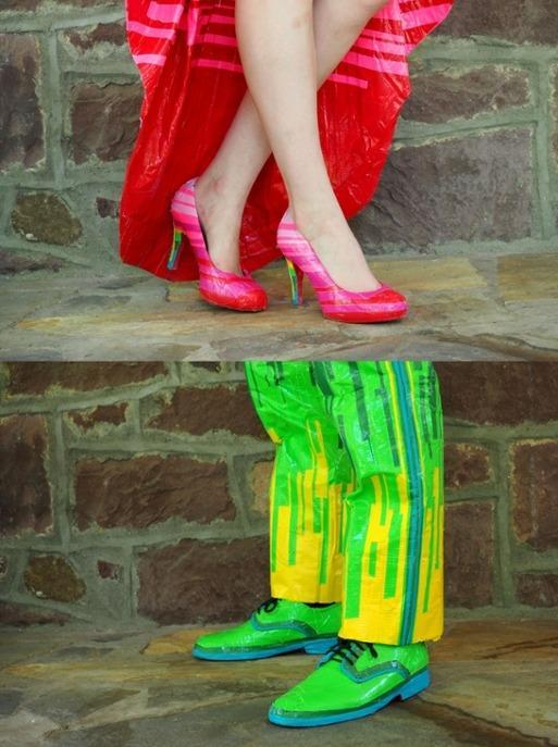 """<p>The stripes that appear on both the dress and suit repeat on Mia's heels. Chandler's fully duct-taped shoes – liberally layered with day-glo green tape – are just plain fun. (Credit: <a href=""""http://stuckatprom.com/"""" rel=""""nofollow noopener"""" target=""""_blank"""" data-ylk=""""slk:Stuck At Prom"""" class=""""link rapid-noclick-resp"""">Stuck At Prom</a>)</p>"""