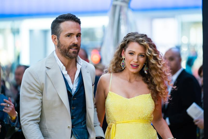 """NEW YORK, NEW YORK - MAY 02: Ryan Reynolds and Blake Lively attends the """"Pokemon Detective Pikachu"""" U.S. Premiere at Times Square on May 02, 2019 in New York City. (Photo by Mark Sagliocco/FilmMagic)"""